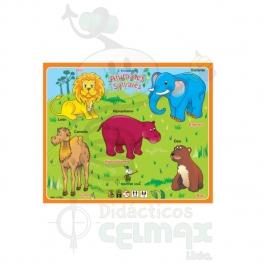 ENCAJABLE DE ANIMALES SALVAJES X 5 (ESPAÑOL-INGLÉS)