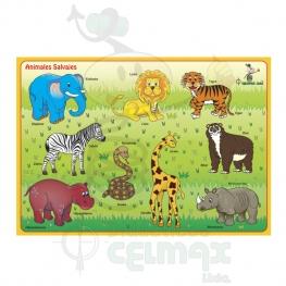 ENCAJABLE DE ANIMALES SALVAJES X 9 (ESPAÑOL-INGLÉS)