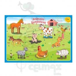 ENCAJABLE DE ANIMALES DOMÉSTICOS X 9 (ESPAÑOL-INGLÉS)